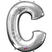 "Silver Letter C Mini-Foil Balloon (16"" Air) 1pc"